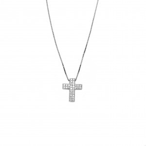 Silver 925 Cross Necklace platinum-plated Women's in silver color with Zircon Stones AJ (KA0069)