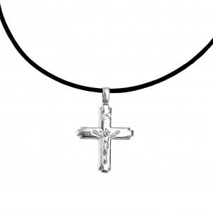 Silver 925 Cross Men's necklace in silver color AJ(KA0071)