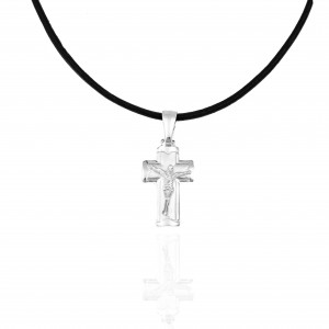 Silver 925 Cross Men's necklace in silver color AJ(KA0071)