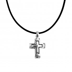 Silver 925 Cross Men's necklace in silver color AJ (KA0072)