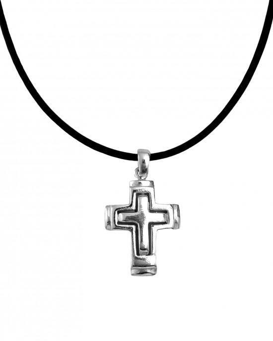 Silver 925 Cross Men's necklace in silver color AJ (KA0072)