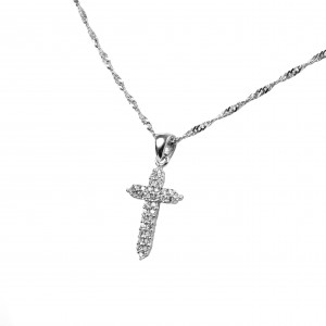Silver 925-Feminized Feminine Necklace- Cross with Zircon Stones in Silver Color AJ (KA0073A)