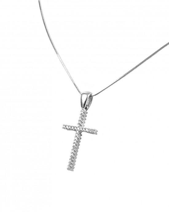 925 Silver-Feminine Women's Cross-Cross with Zircon Stones in Silver AJ Color (KA0074A)