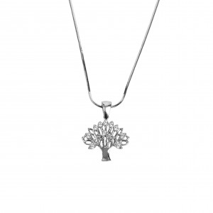 925 Silver-Feminized Feminine Necklace-Living Tree with Zircon Stones in Silver AJ Color (KA0078A)