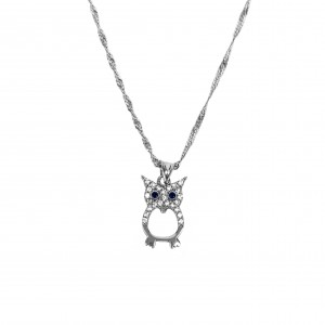 Silver 925 Necklace Women's Owl flattened in color Silver with Zircon stones AJ (KA0081A)