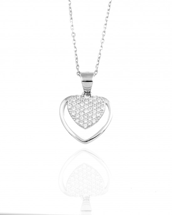 Sterling Silver 925 Necklace-Heart in Color Silver AJ(KA0081A)