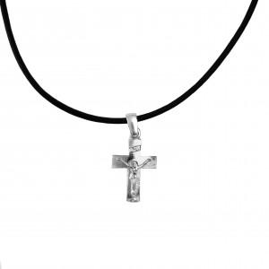 Silver 925 Men's Cross necklace in Silver Color AJ (KA0082A)