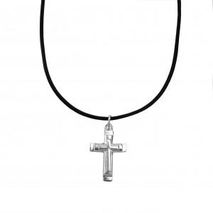 Silver 925 Men's Cross necklace in AJ Silver Color (KA0084A)