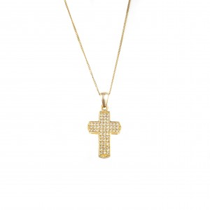 Silver 925 Cross Women's necklace in yellow Gold with Zircon Stones AJ (KA0085X)