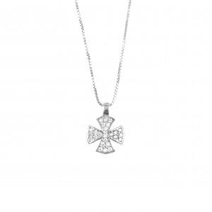 Silver 925 Cross Women's necklace in Silver Color with Zircon AJ Stones (KA0086)