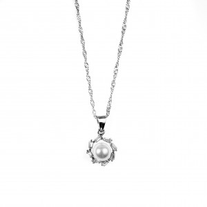 Silver 925-Fabricated Women's Necklace-Single stone with Pearl and Zircon Stones in Silver Color AJ (KA0088A)
