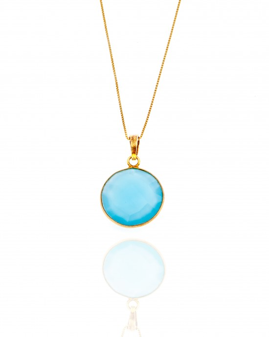Silver 925-Single Stone Necklace in Gold AJ (KA0090X)