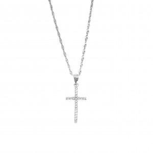 Silver 925-Feminized Women's Necklace-Cross with Zircon Stones in Silver Color AJ (KA0092A)