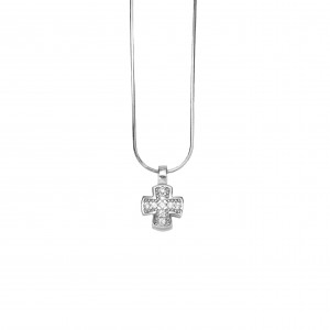 Silver 925 Women's Cross Coil platinum plated with Zircon Stones in Silver AJ Color (KA0095A)