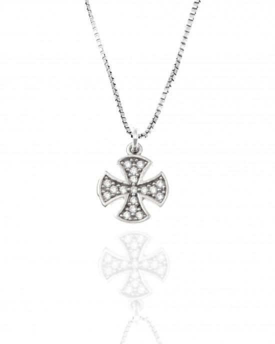 Sterling Silver 925 Women - Cross with Chain in Silver AJ (KA0095A)