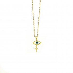 Silver 925-Gold Plated Eye Necklace with Cross in Gold AJ (KA0096X)