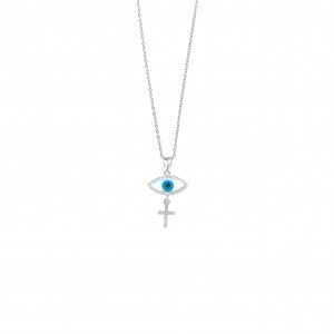 Silver 925-Platinum Eye Necklace with Silver AJ (KA0098A)