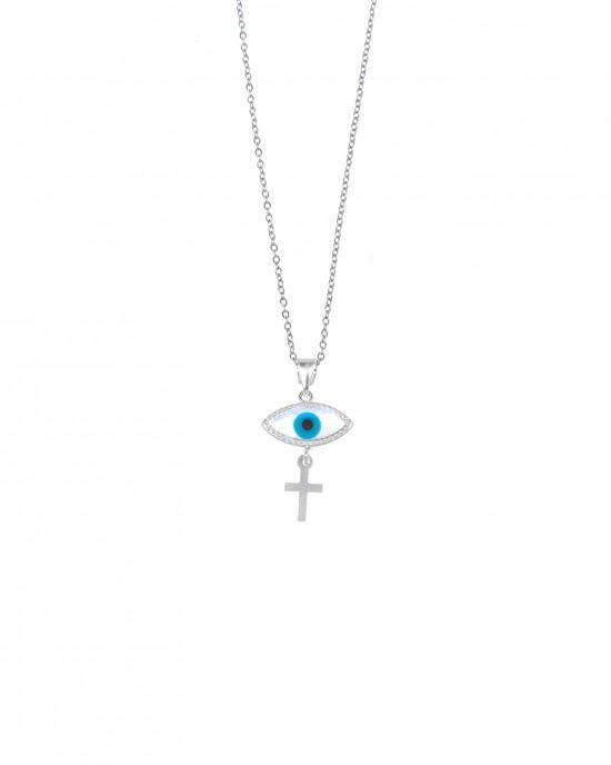 Silver 925-Platinum Eye Necklace with Silver AJ (KA0098A)