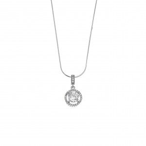 Sterling Silver 925 Necklace-Single Stone with Silver AJ (KA0099A)