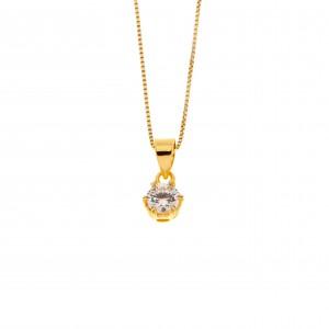 Silver 925-Single Stone Necklace in Yellow Gold AJ (KA0100X)