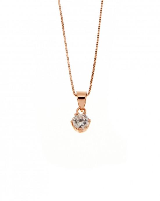 Sterling Silver 925 Necklace-Single Stone in Rose Gold AJ (KA0101RX)