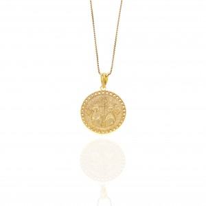 Sterling Silver 925-Constantine Necklace with Stones in Gold AJ (KA0108X)