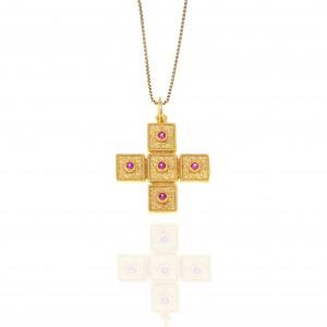 Sterling Silver 925-Byzantine Cross in Gold AJ (KA0111X)
