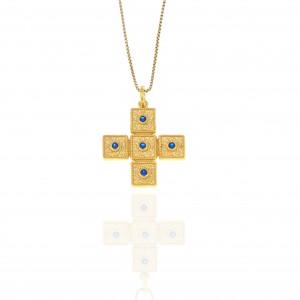 Sterling Silver 925-Byzantine Cross in Gold AJ(KA0112X)
