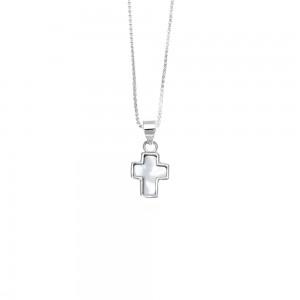 Silver 925-Cross with Ivory in Silver AJ (KA0113X)
