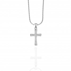 Women's Cross from Silver 925 with Stone in Silver Color AJ (KA0115A)