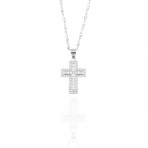 Women's Cross from Silver 925 with Stone in Silver Color AJ (KA0116A)