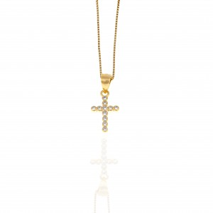 Women's Cross from Silver 925 with Stone in Yellow Gold AJ (KA0117X)