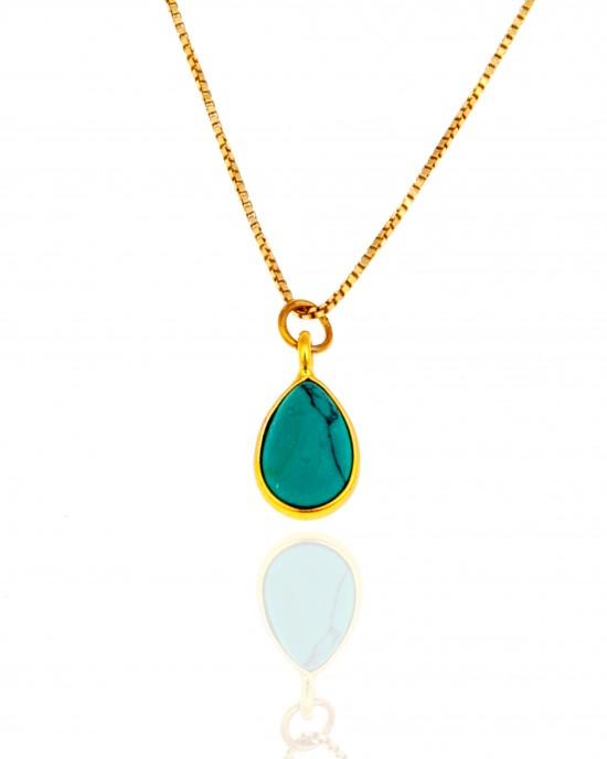 Sterling Silver 925-Single Stone Necklace in Gold AJ (KA0125X)