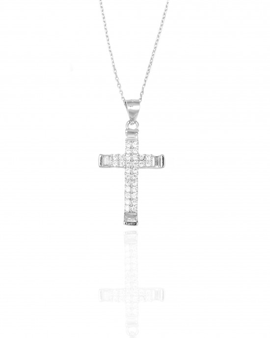 Sterling Silver 925- Cross with Chain in Silver AJ (KA0126A)