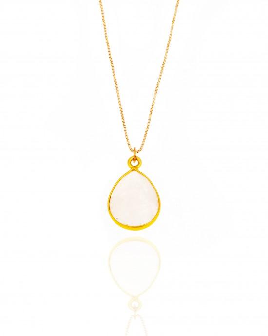 Sterling Silver 925-Single Stone Necklace in Gold AJ (KA0126X)