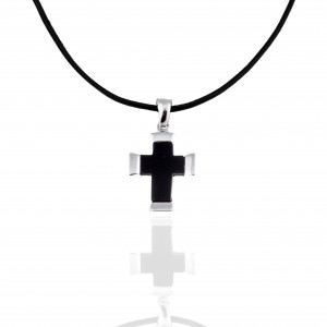 Sterling Silver 925-Male Cross with Cord in Silver AJ (KA0134A)