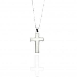 Sterling Silver 925-Women Cross with Ivory in Silver AJ (KA0135A)