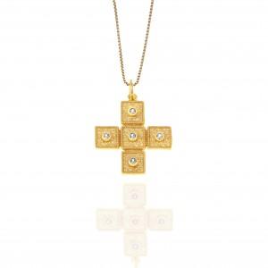 Silver 925-Cross Byzantine Women in Gold AJ (KA0137A)