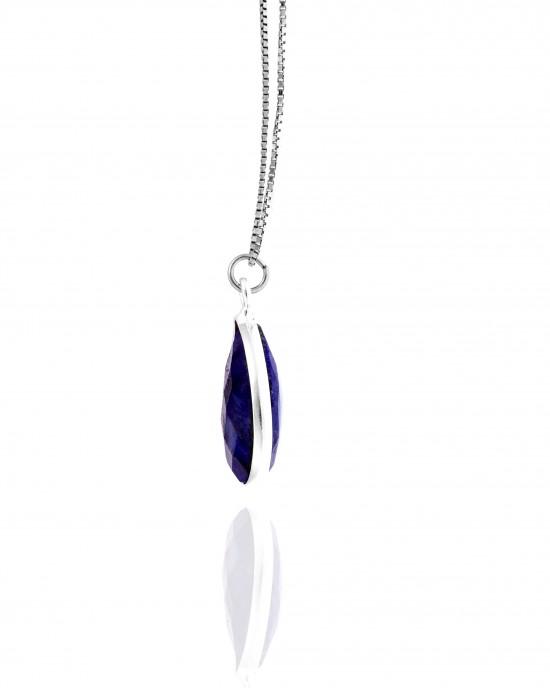 Sterling Silver 925-Single Stone Necklace with Silver AJ (KA0138A)