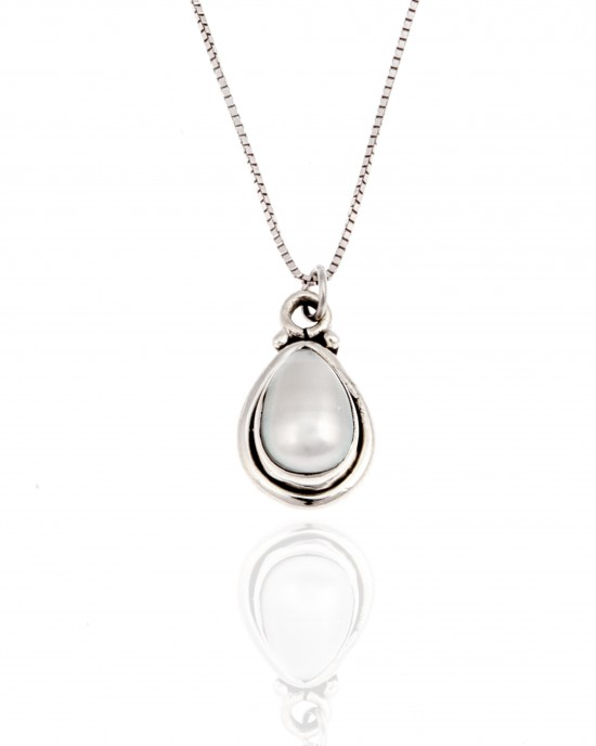 Sterling Silver 925-Single Stone Necklace with Silver AJ (KA0139A)