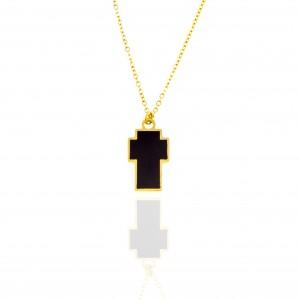 Women's Steel Necklace-Cross in Gold AJ (KK0001X)