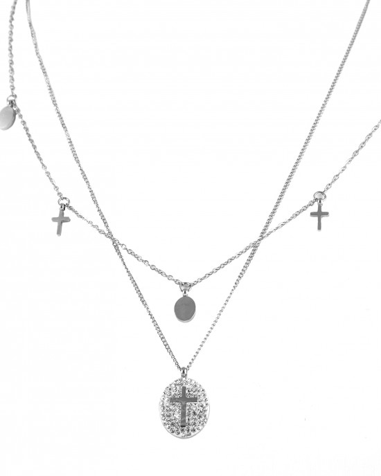 Women's Double Necklace with Cross and Stress KK0004A