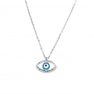 Steel female eye necklace with zirconia KK0005A