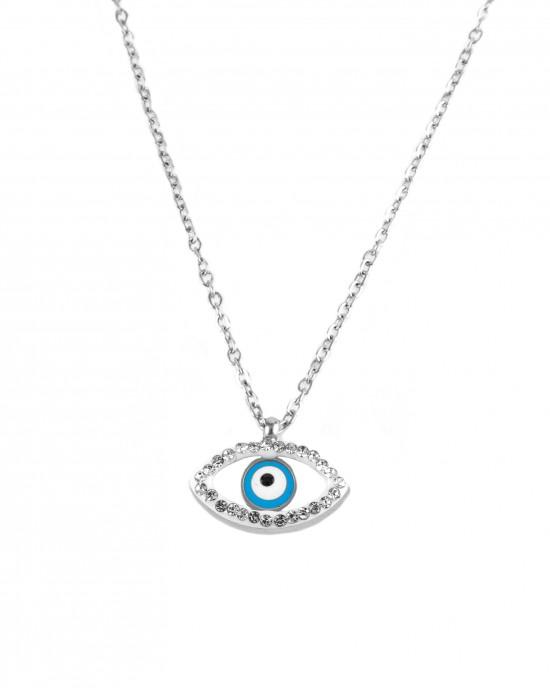 Steel female eye necklace with zirconia KK0005A