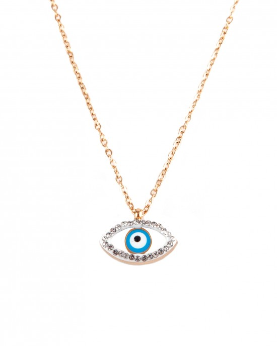 Women's steel necklace in pink gold gold with eye zircon pattern