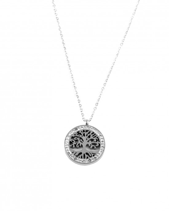 Women's Stainless Steel Necklace in Tree of Life Design and Zirconia Stones Silver AJ(KK0008A)
