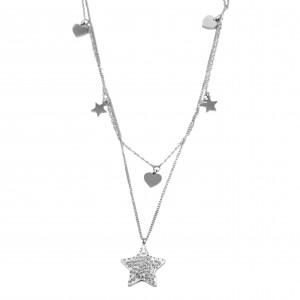 Women's Double Star Necklace with Zircon Steel in Silver Color AJ (KK0015A)