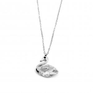 Women's Swan Necklace with Zircon Steel in Silver Color AJ (KK0019A)