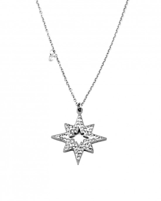 Women's Surgical Steel Necklace with Silver Star Design  AJ(KK0022A)