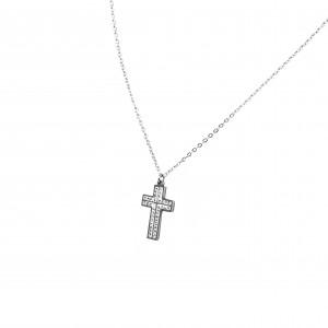 Women's surgical steel cross with white zircon in silver color AJ(KK0023A)